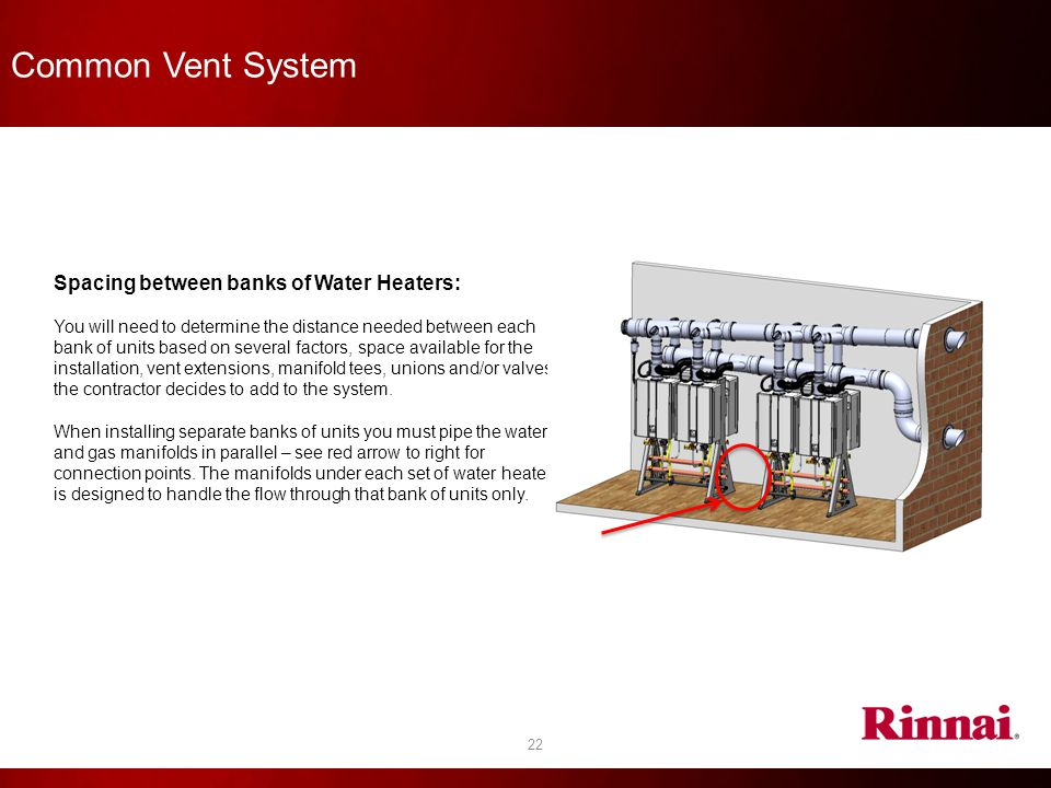 Common Vent System Spacing between banks of Water Heaters: