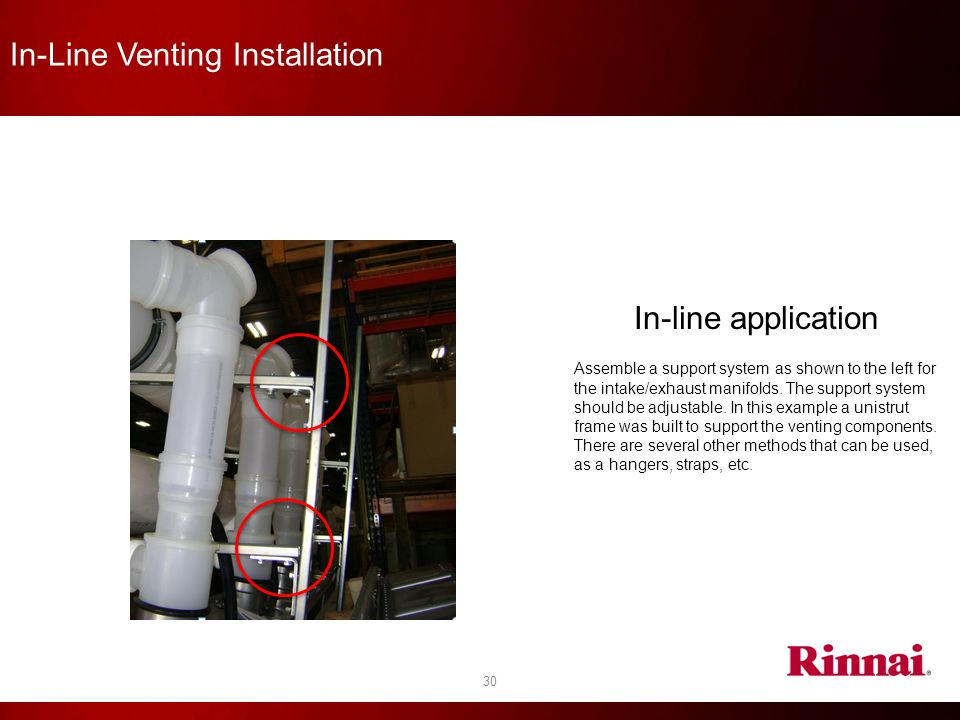In-Line Venting Installation