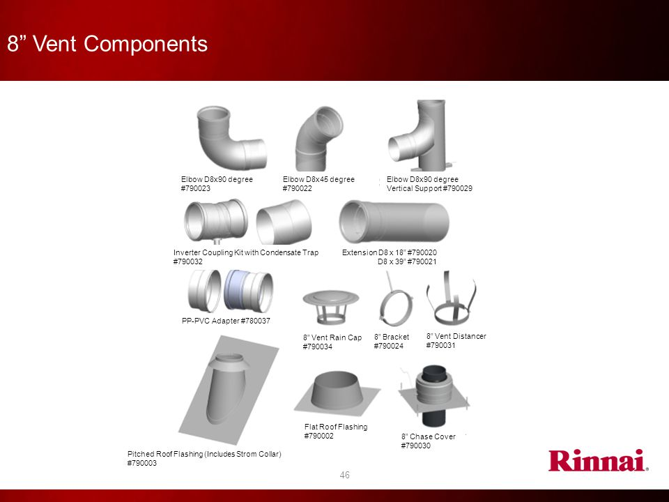 8 Vent Components Elbow D8x90 degree #790023 Elbow D8x45 degree
