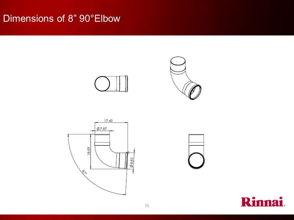 Dimensions of 8 90°Elbow