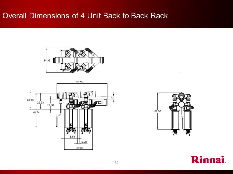 Overall Dimensions of 4 Unit Back to Back Rack