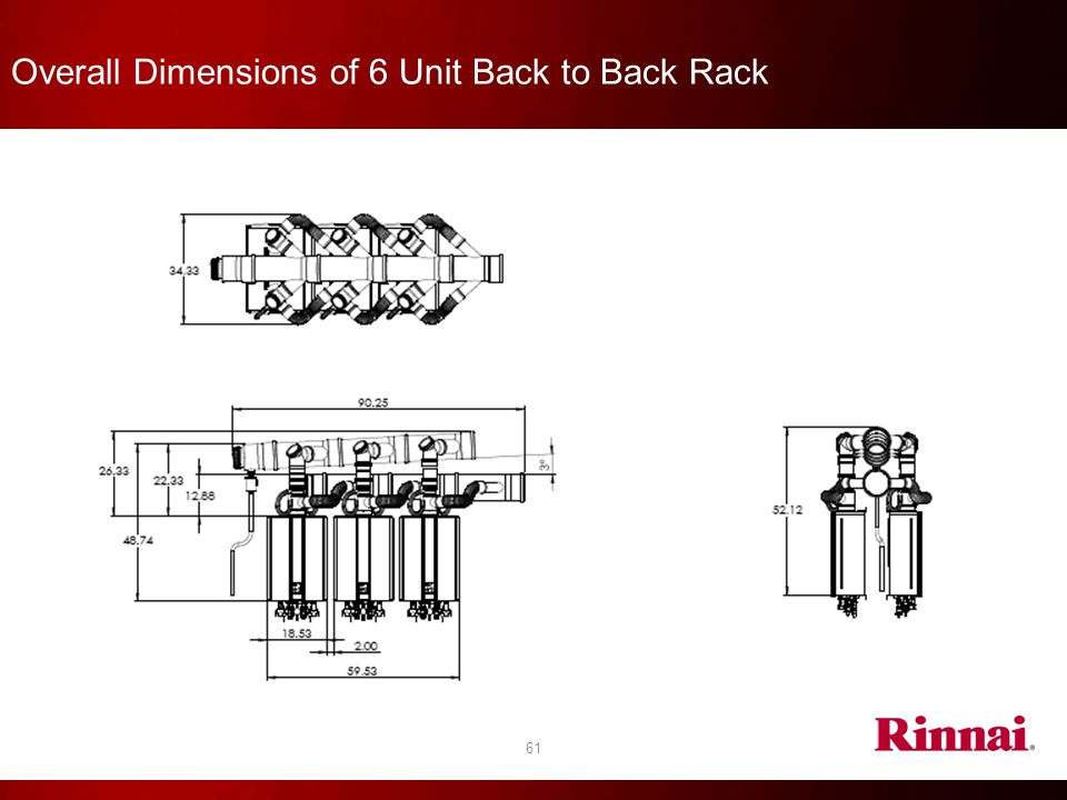 Overall Dimensions of 6 Unit Back to Back Rack