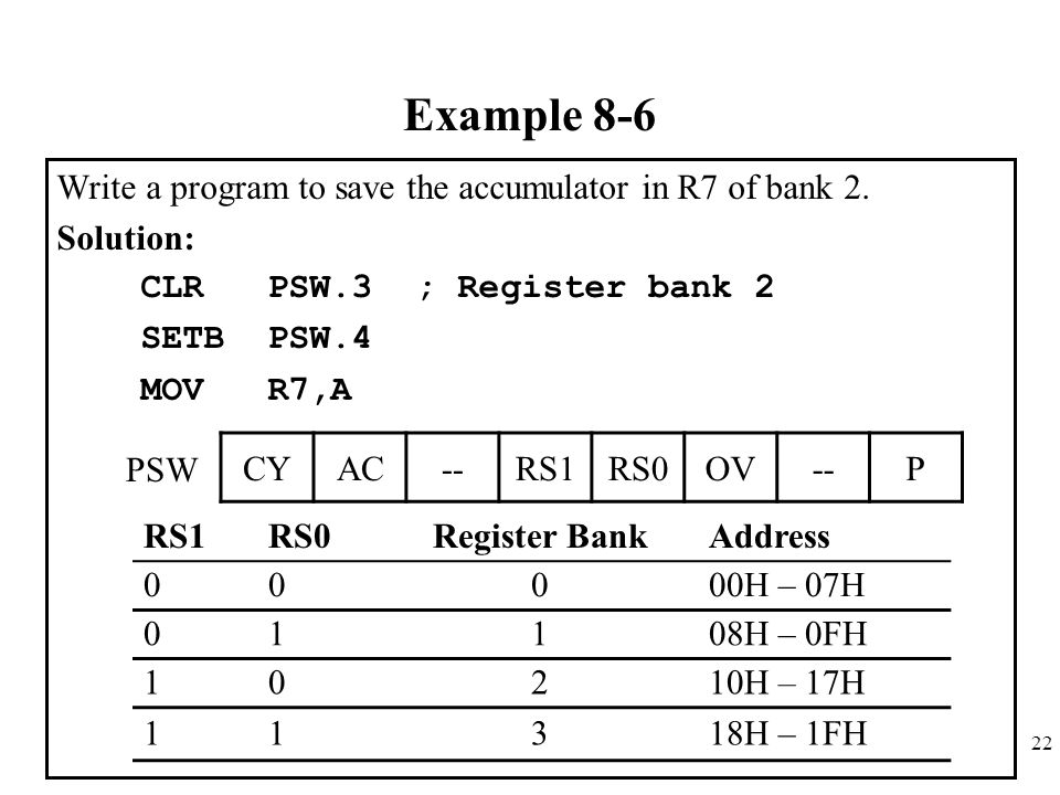 Example 8-6 Write a program to save the accumulator in R7 of bank 2.