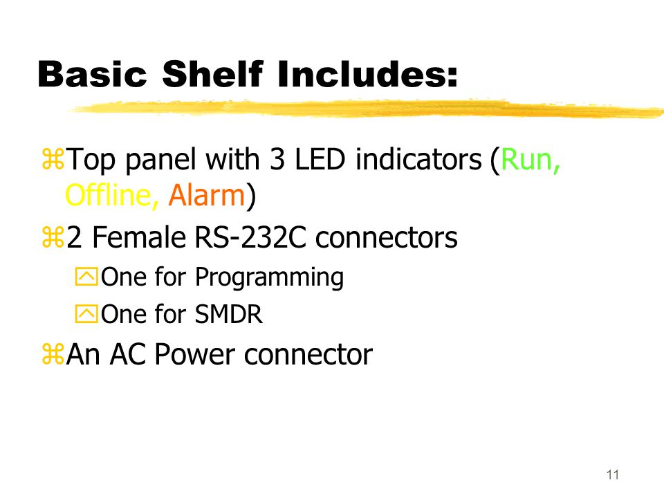 Basic Shelf Includes: Top panel with 3 LED indicators (Run, Offline, Alarm) 2 Female RS-232C connectors.