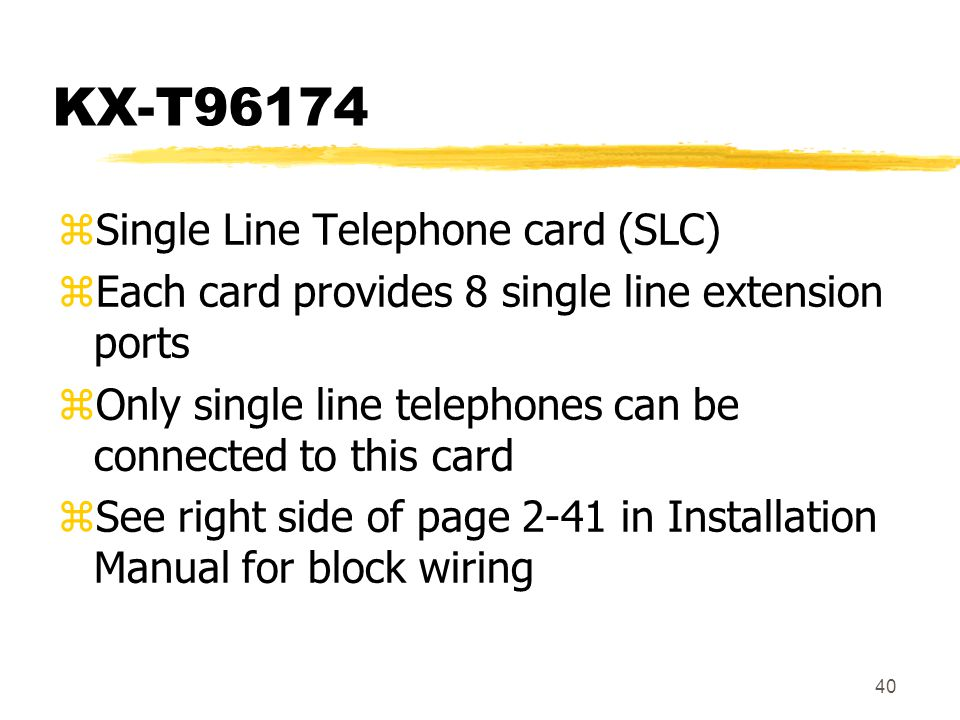 KX-T96174 Single Line Telephone card (SLC)