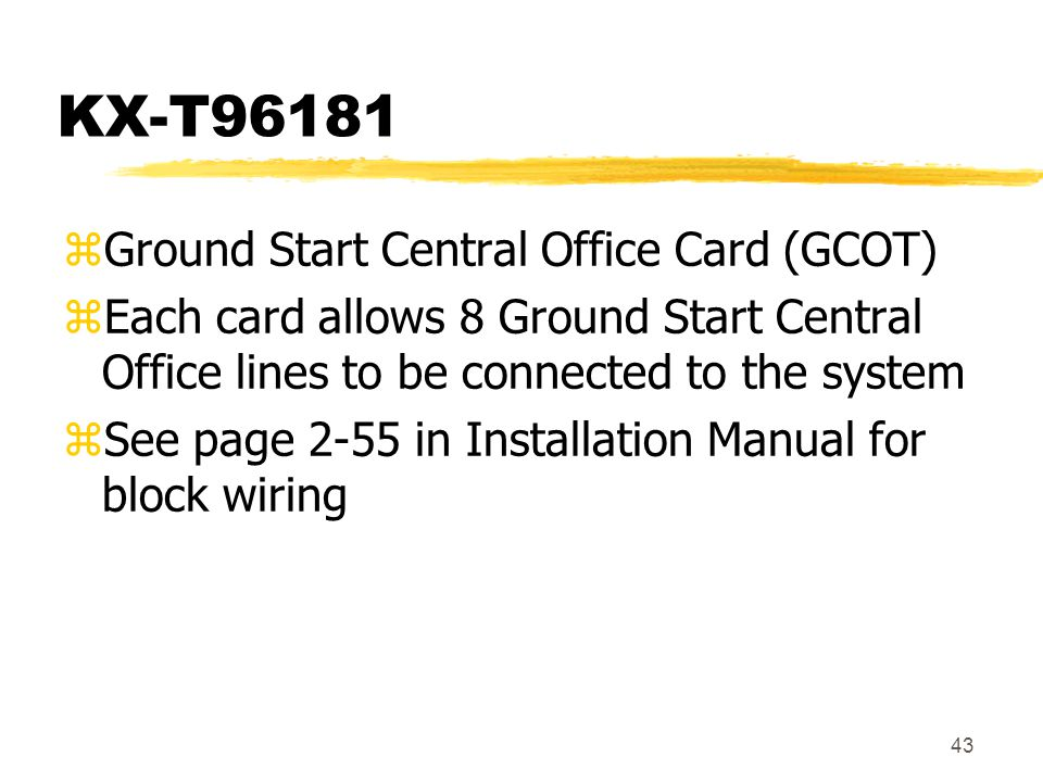 KX-T96181 Ground Start Central Office Card (GCOT)