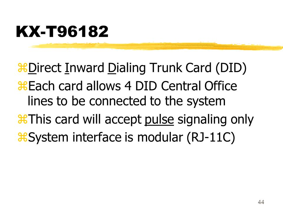 KX-T96182 Direct Inward Dialing Trunk Card (DID)