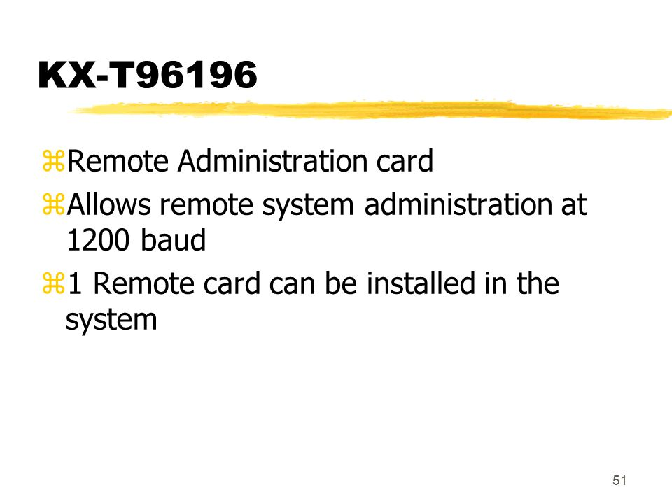 KX-T96196 Remote Administration card