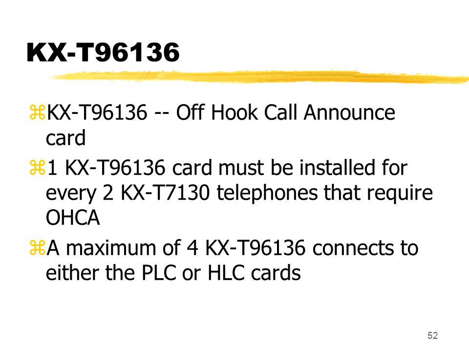 KX-T96136 KX-T96136 -- Off Hook Call Announce card