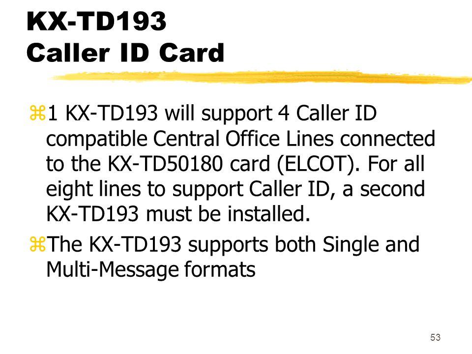 KX-TD193 Caller ID Card