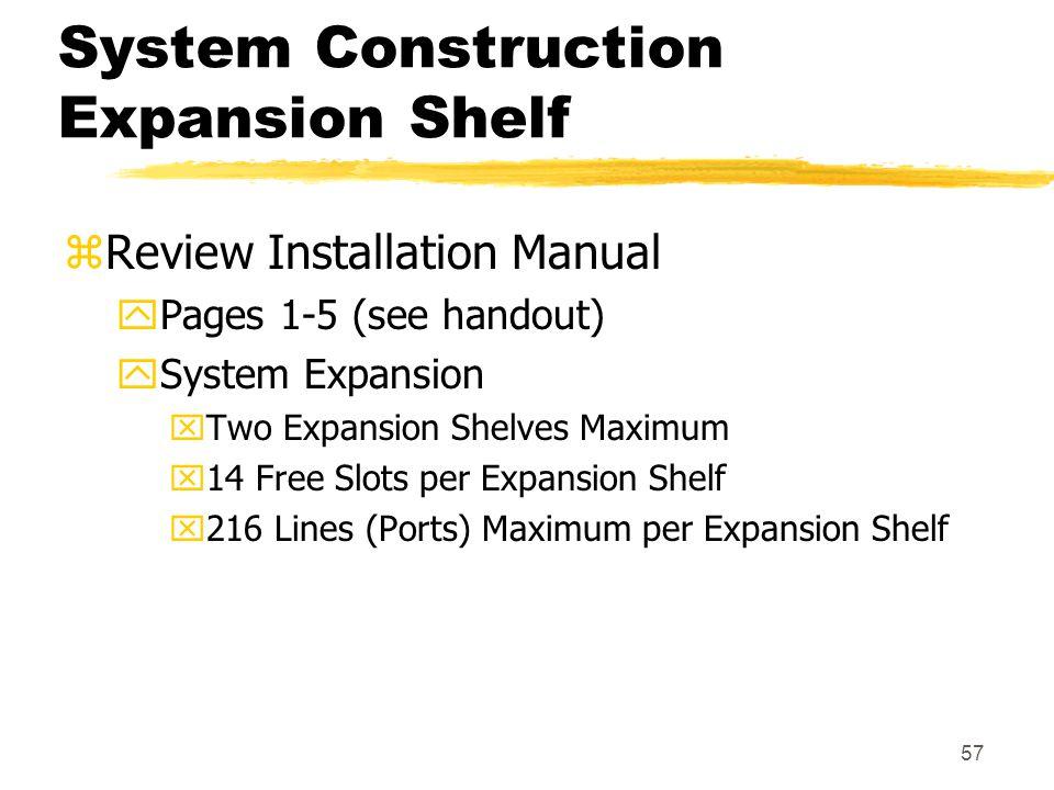 System Construction Expansion Shelf