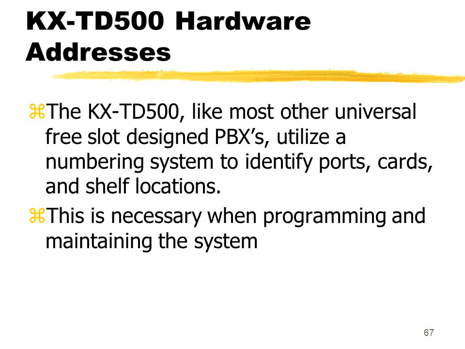 KX-TD500 Hardware Addresses