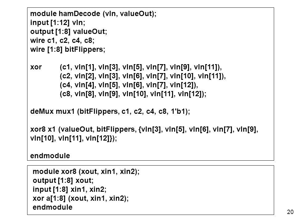 module hamDecode (vIn, valueOut);