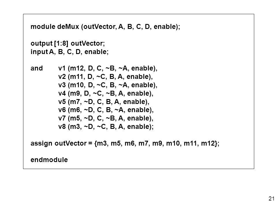module deMux (outVector, A, B, C, D, enable);