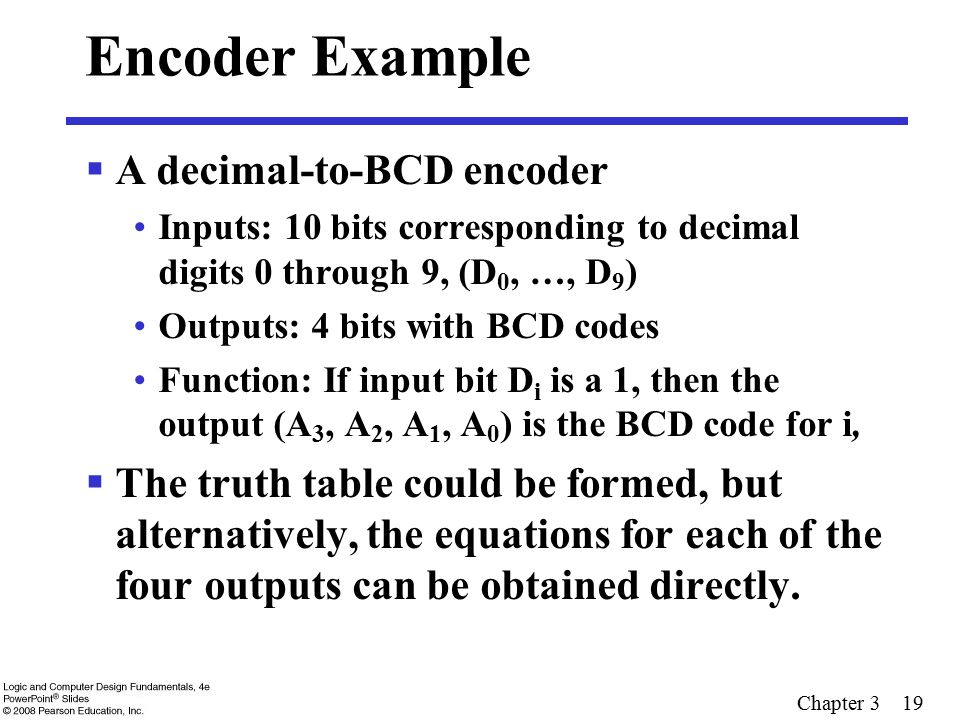 Encoder Example A decimal-to-BCD encoder