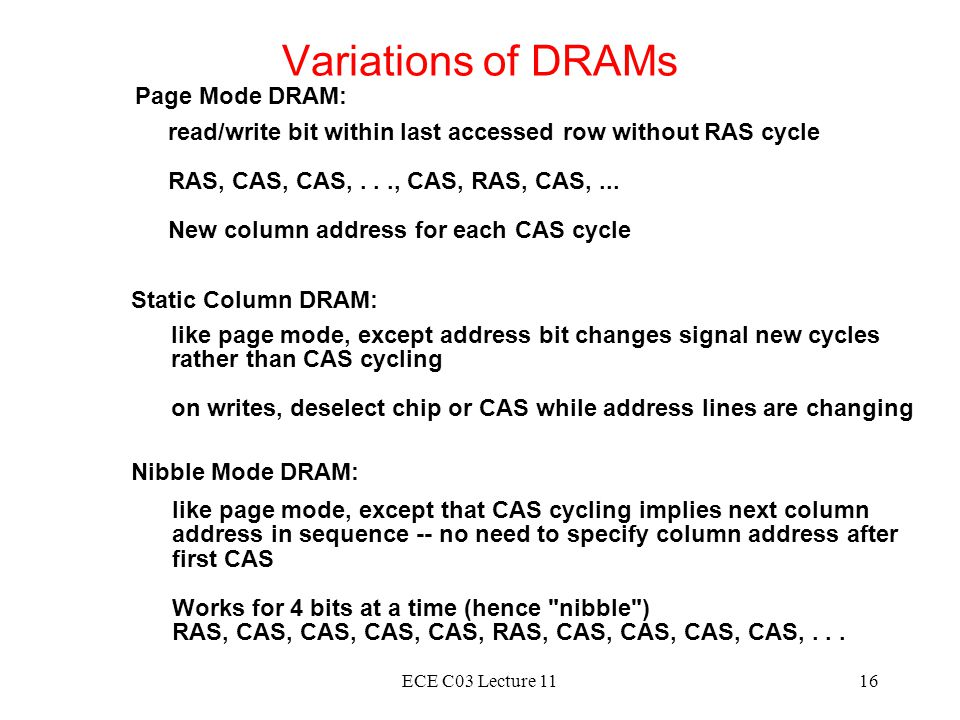 Variations of DRAMs Page Mode DRAM:
