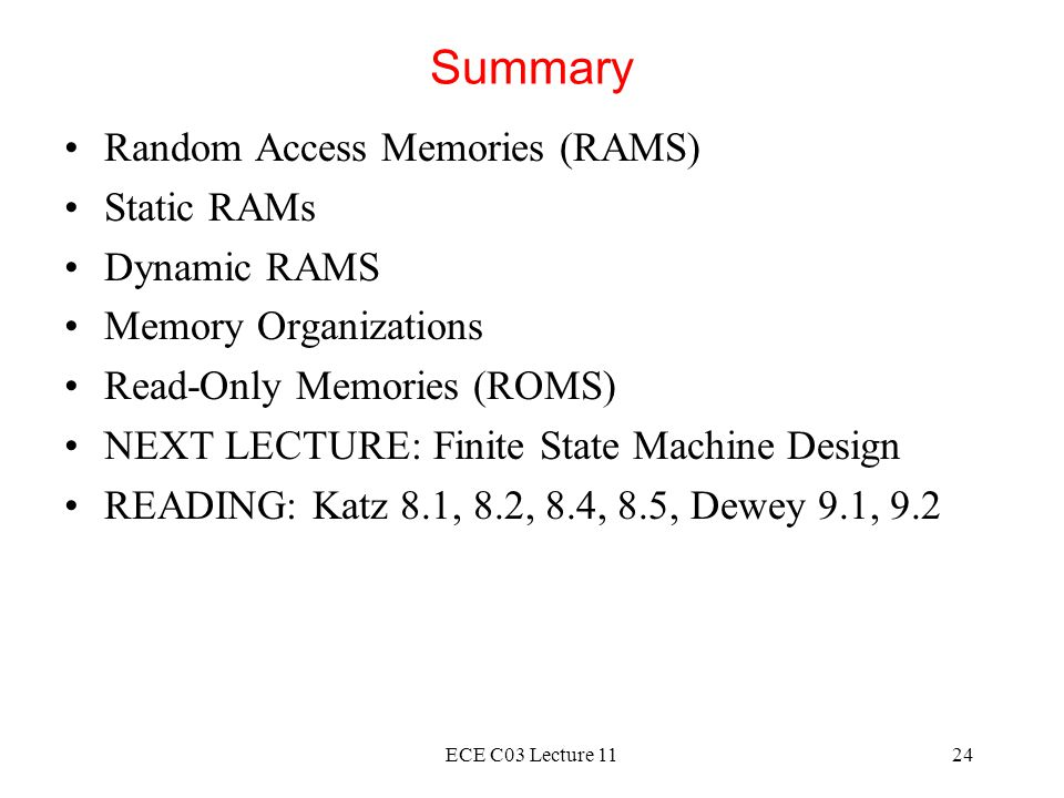 Summary Random Access Memories (RAMS) Static RAMs Dynamic RAMS