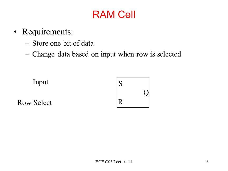 RAM Cell Requirements: Store one bit of data