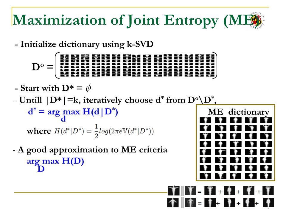 Maximization of Joint Entropy (ME)