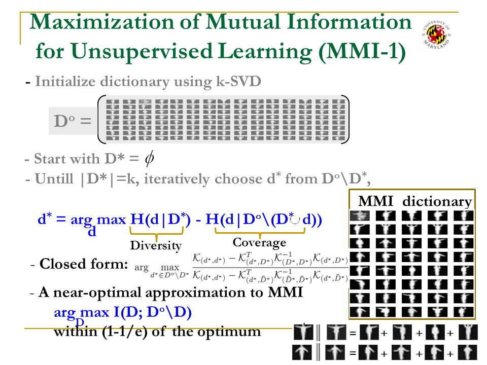Maximization of Mutual Information for Unsupervised Learning (MMI-1)