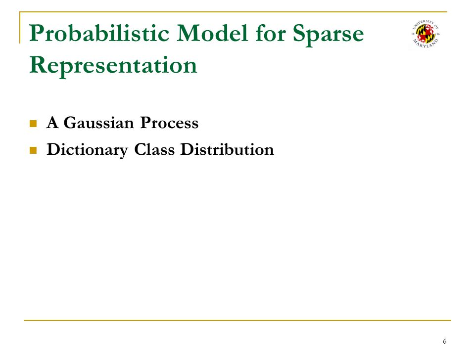 Probabilistic Model for Sparse Representation