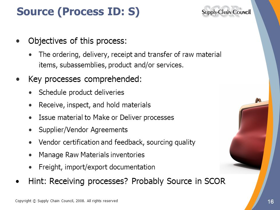 Source (Process ID: S) Objectives of this process: