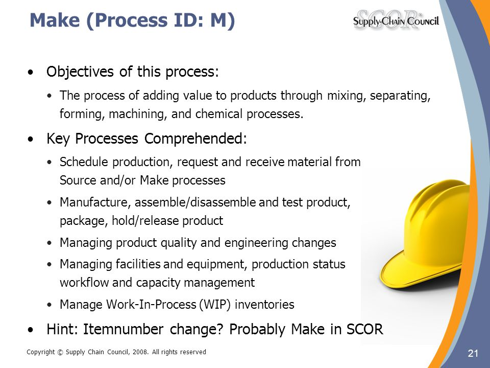Make (Process ID: M) Objectives of this process: