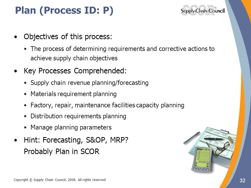 Plan (Process ID: P) Objectives of this process: