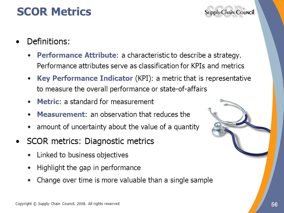 SCOR Metrics Definitions: SCOR metrics: Diagnostic metrics