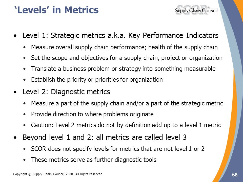 'Levels' in Metrics Level 1: Strategic metrics a.k.a. Key Performance Indicators.