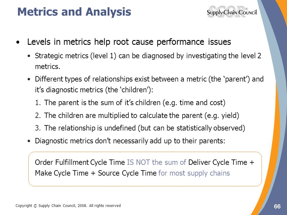Metrics and Analysis Levels in metrics help root cause performance issues.
