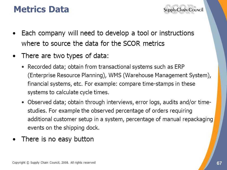 Metrics Data Each company will need to develop a tool or instructions where to source the data for the SCOR metrics.