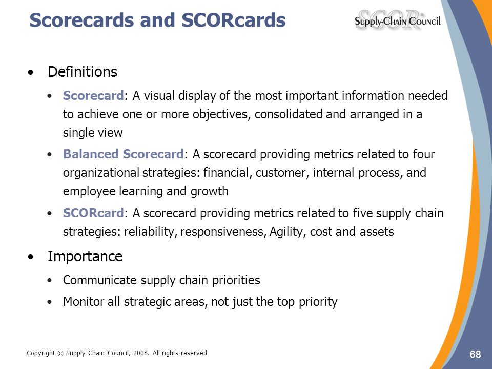 Scorecards and SCORcards