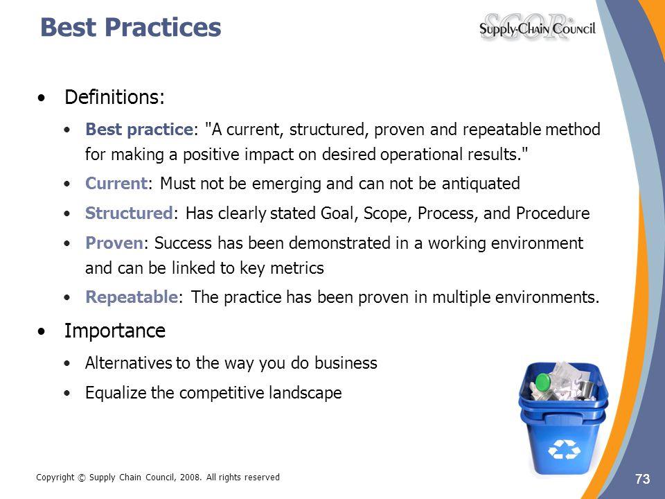 Best Practices Definitions: Importance