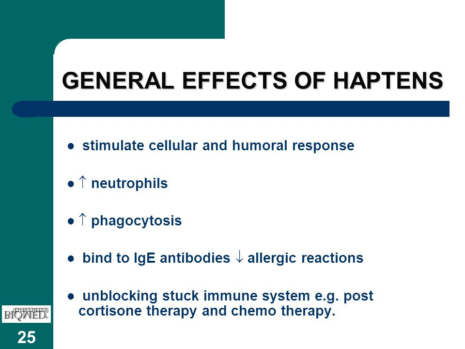 GENERAL EFFECTS OF HAPTENS