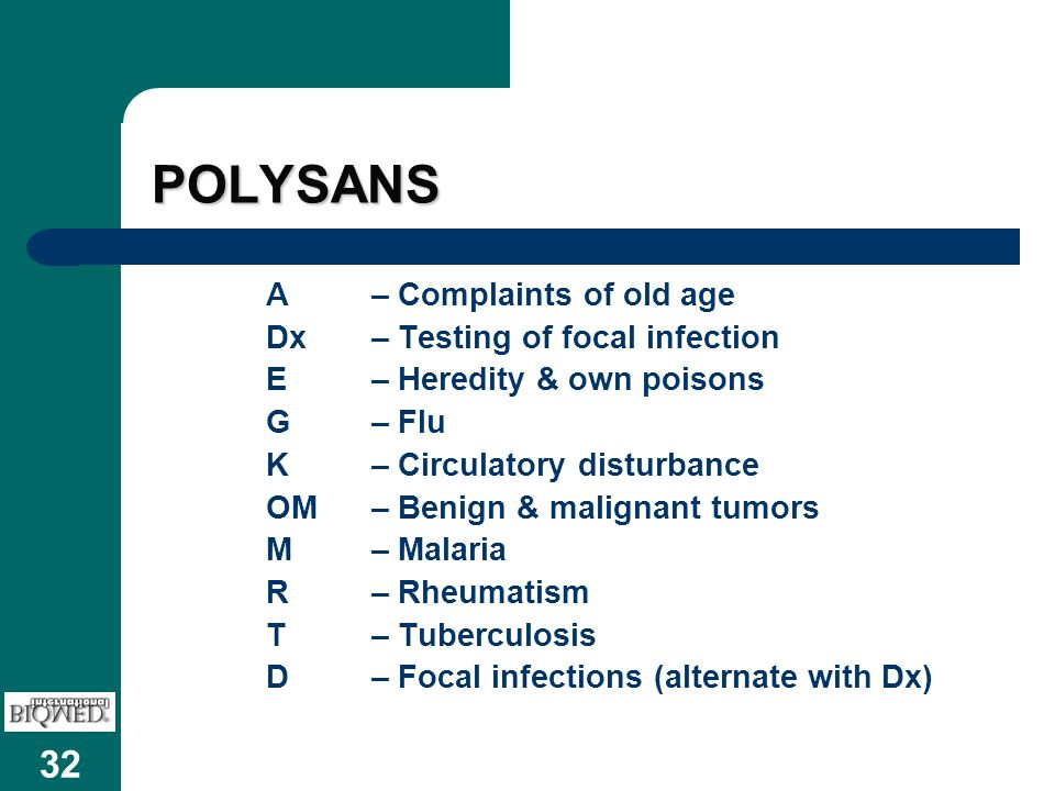 POLYSANS A – Complaints of old age Dx – Testing of focal infection