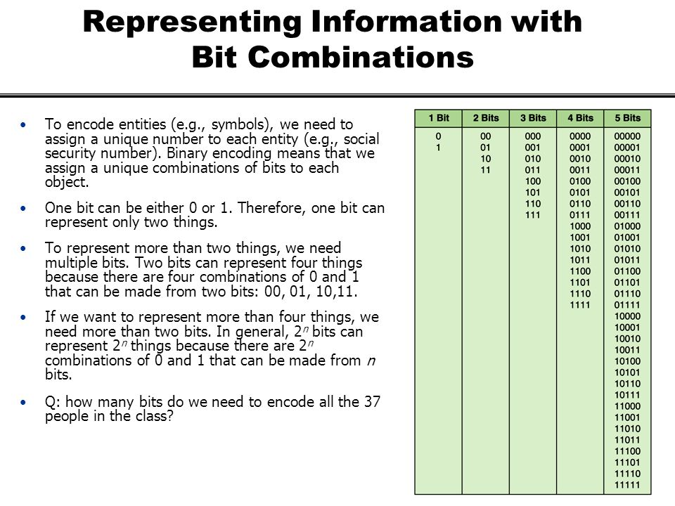 Representing Information with Bit Combinations