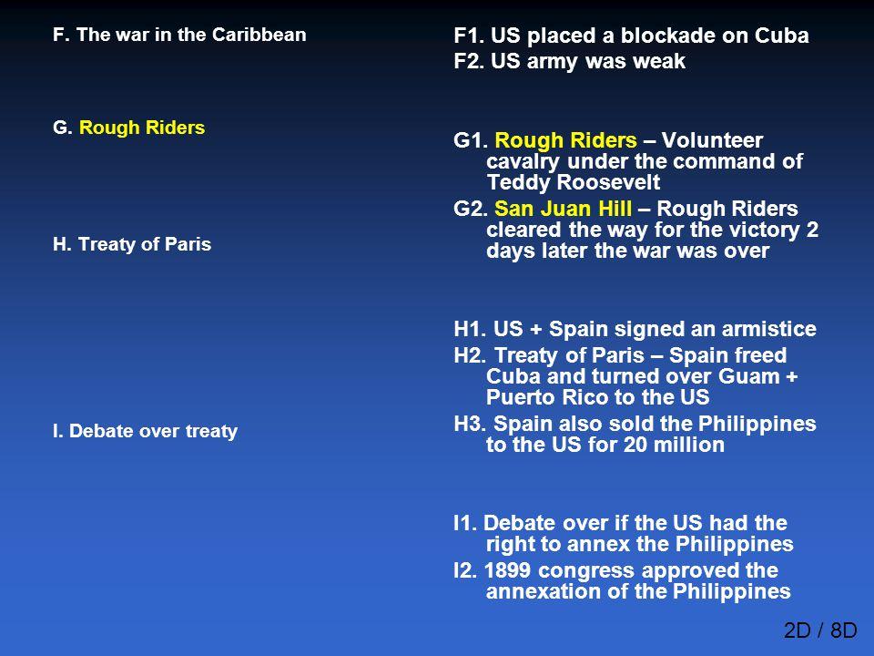 F1. US placed a blockade on Cuba F2. US army was weak
