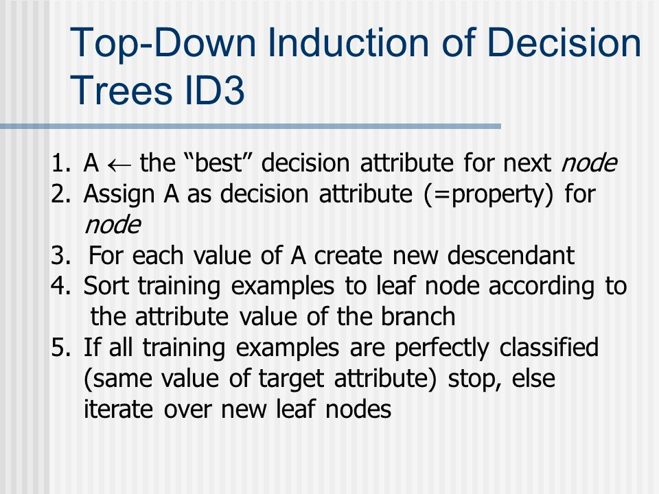 Top-Down Induction of Decision Trees ID3