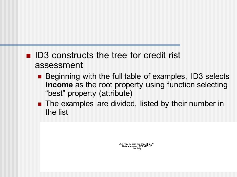 ID3 constructs the tree for credit rist assessment