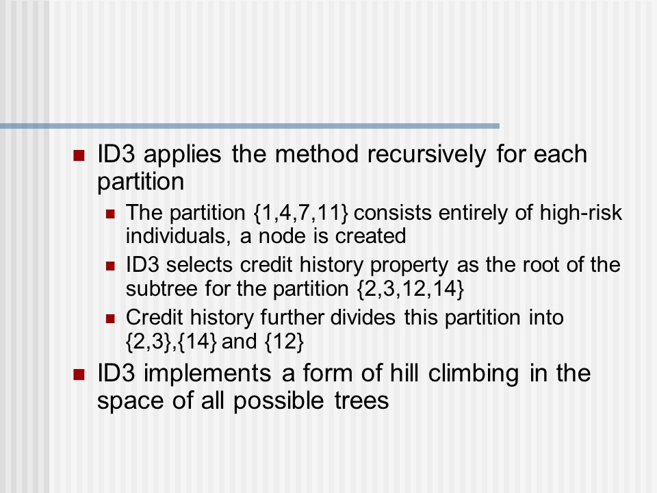ID3 applies the method recursively for each partition
