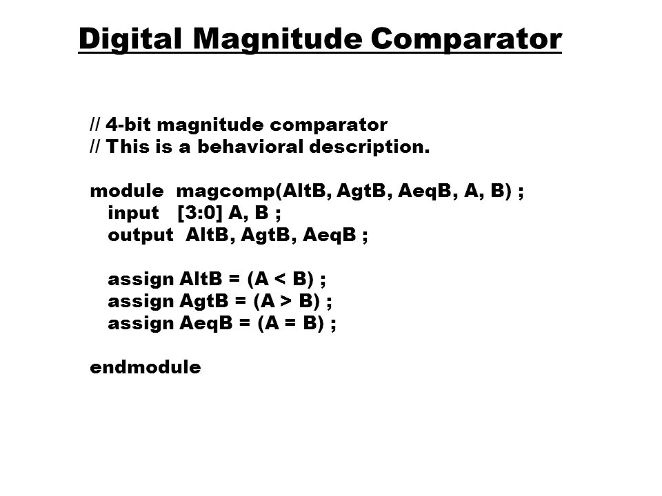 Digital Magnitude Comparator