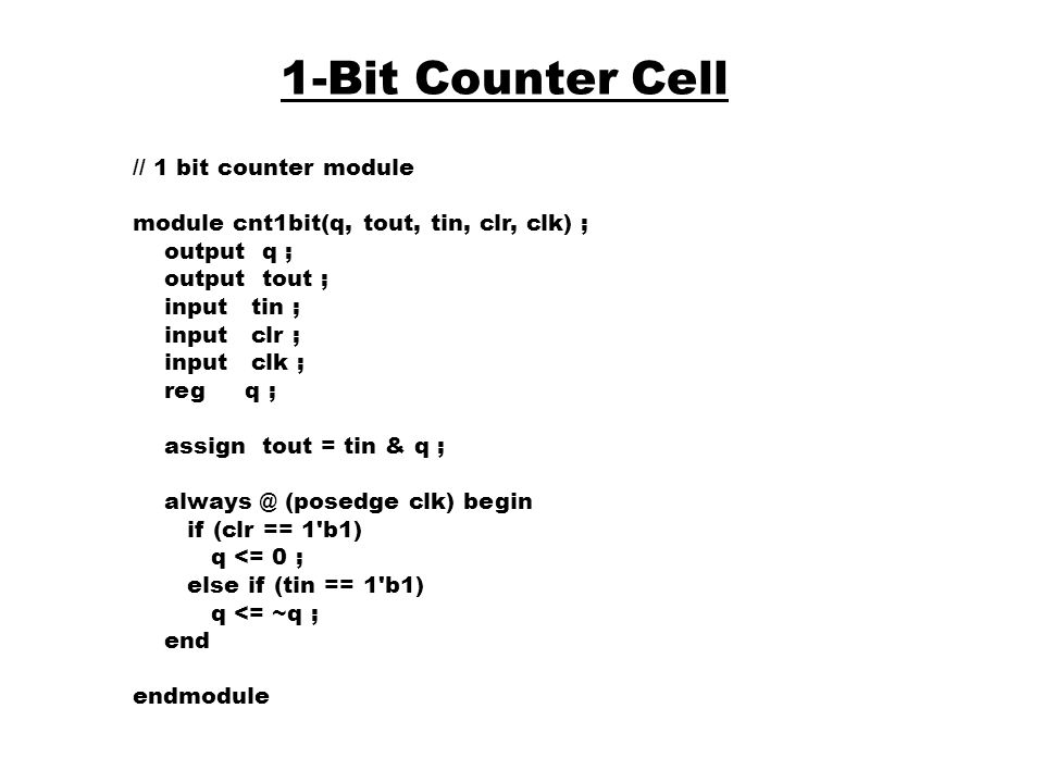 1-Bit Counter Cell // 1 bit counter module