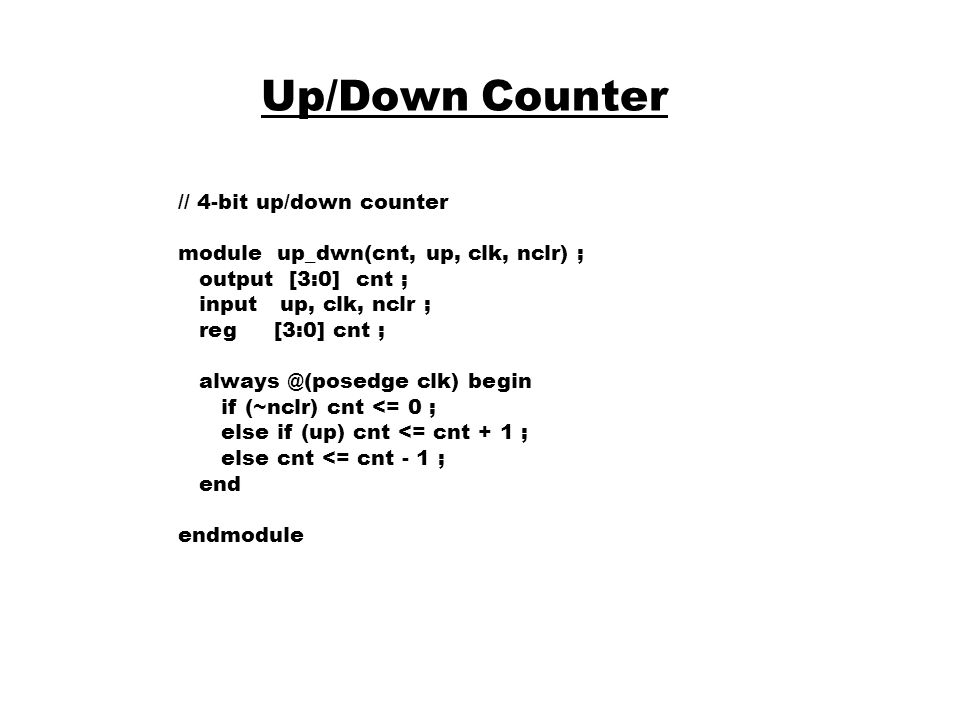 Up/Down Counter // 4-bit up/down counter
