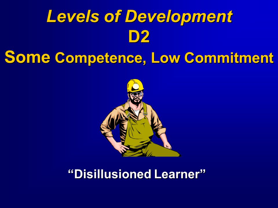 Levels of Development D2 Some Competence, Low Commitment