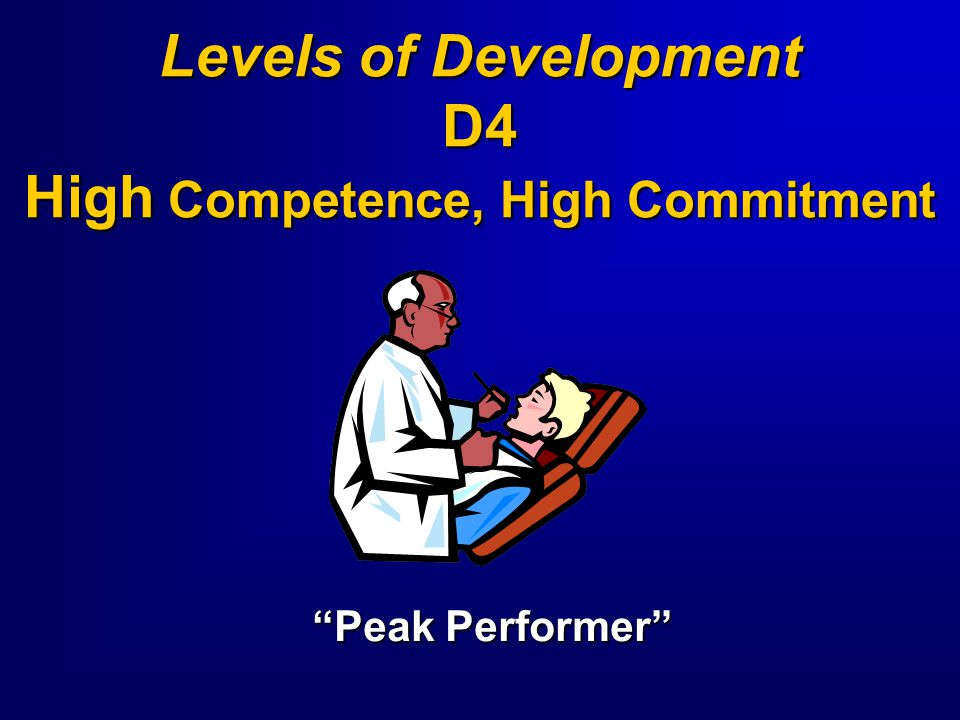 Levels of Development D4 High Competence, High Commitment