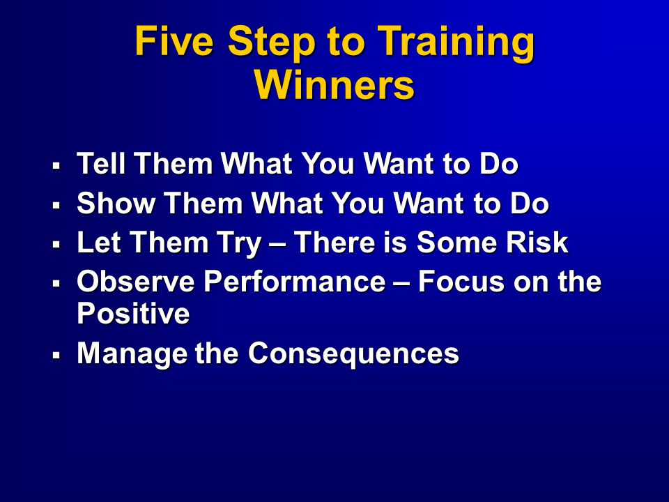 Five Step to Training Winners