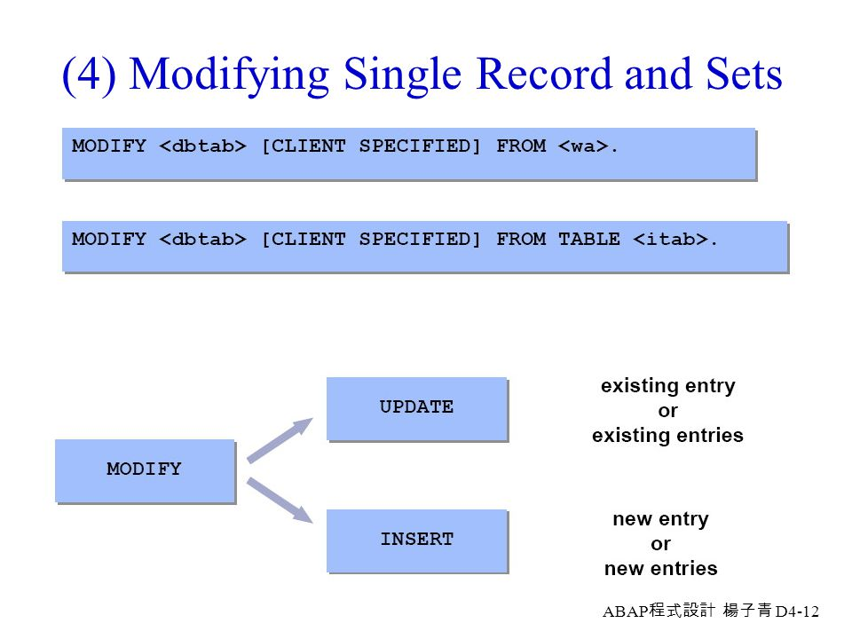 (4) Modifying Single Record and Sets