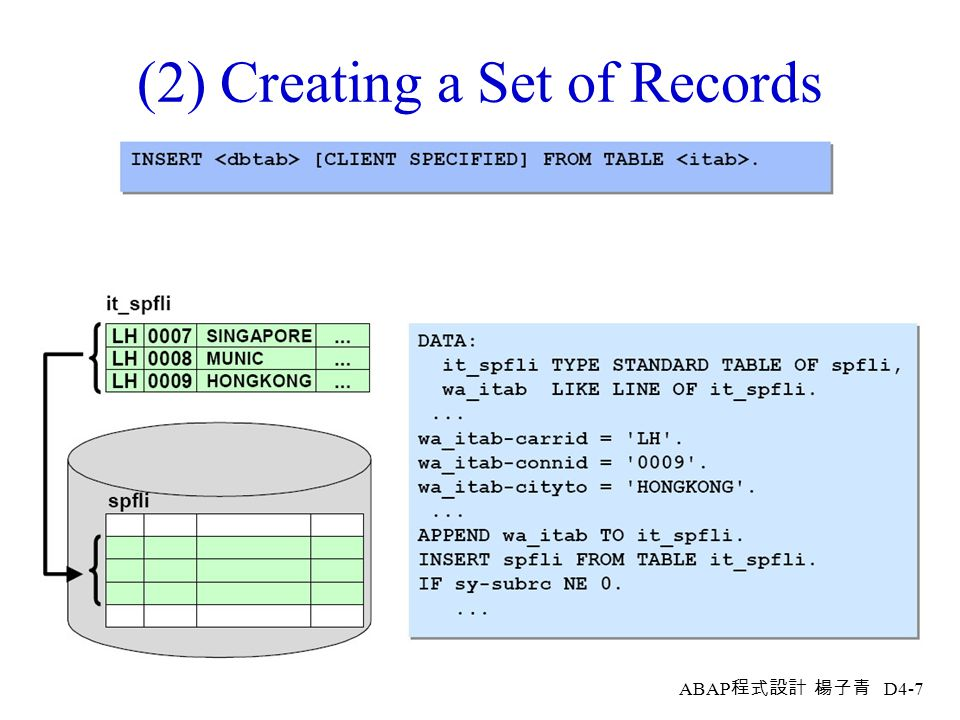 (2) Creating a Set of Records