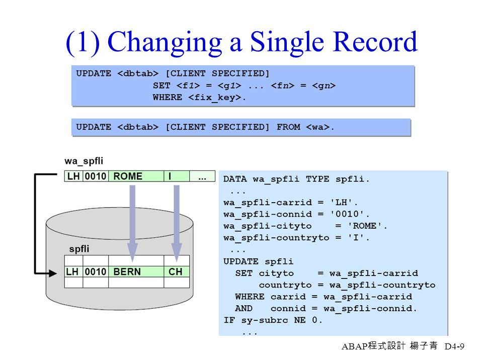 (1) Changing a Single Record